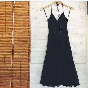 Betsey Johnson Evening Dress Silk Sequins Halter